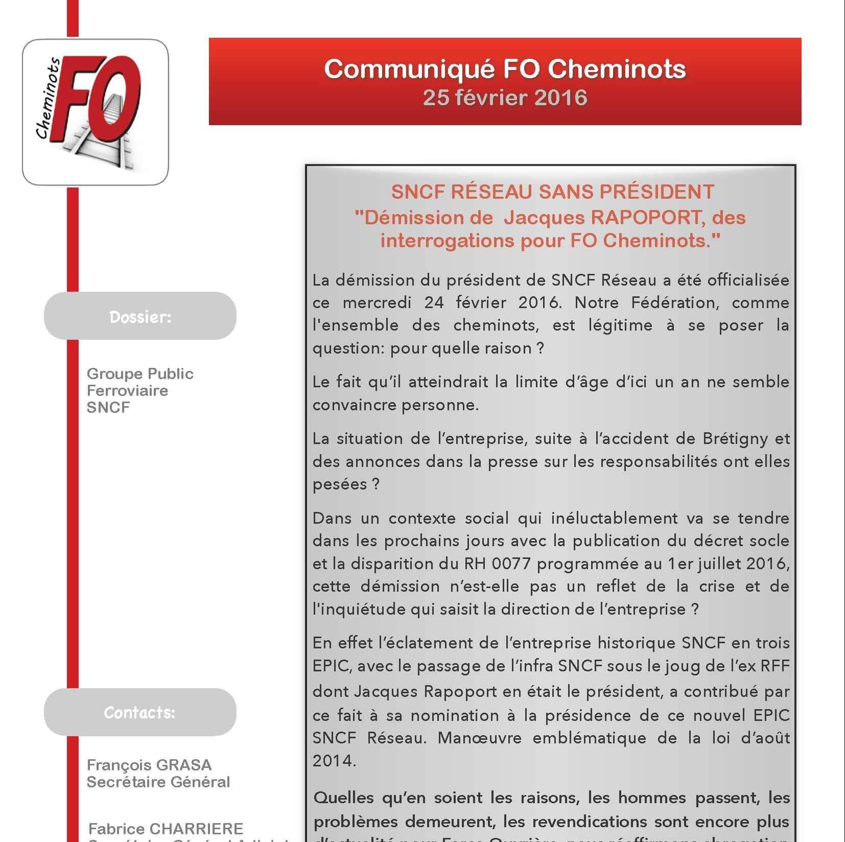SNCF RÉSEAU SANS PRÉSIDENT «Démission de Jacques RAPOPORT, des interrogations pour FO Cheminots.»