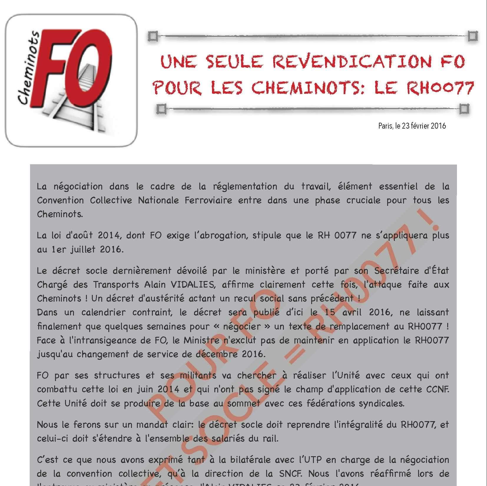 FO reçu au ministère sur le décret socle. Pour FO décret socle = RH0077