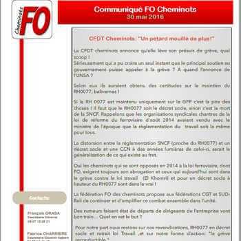 Communiqué de la fédération FO des cheminots du 30 mai 2016: «Un pétard mouillé de plus!»