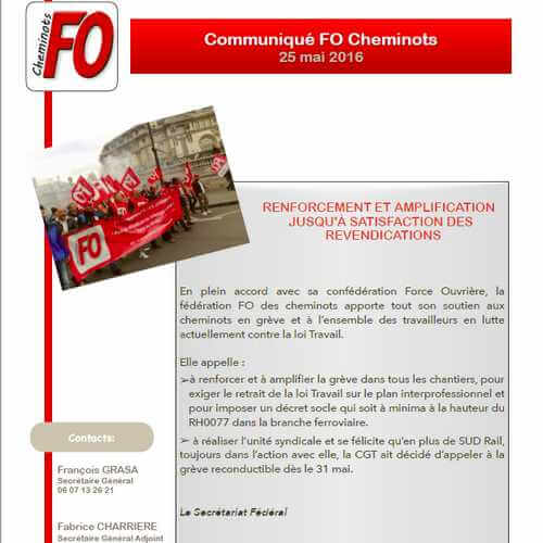 Communiqué de la Fédération FO des Cheminots du 25 mai 2016: Renforcement et amplification jusqu'à satisfaction des revendications !