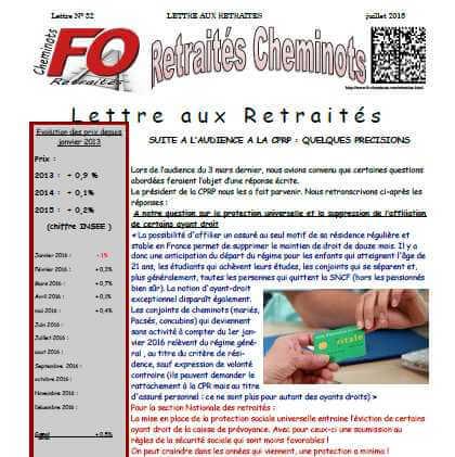 Lettre aux retraités n°32 juillet 2016