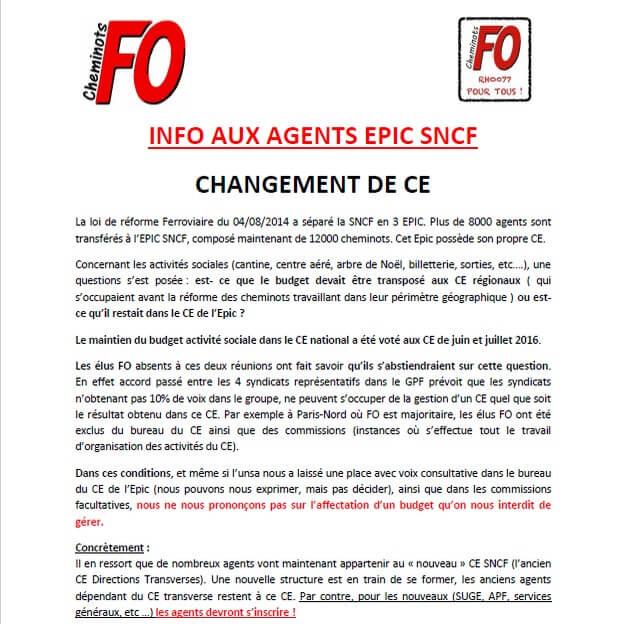INFO AUX AGENTS EPIC SNCF