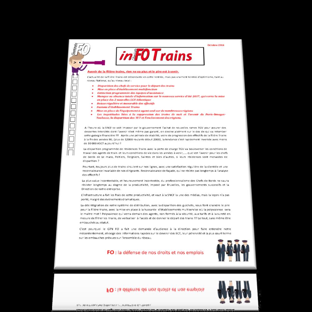 InFO Trains Octobre 2016: Avenir de la filière trains, rien ne va plus.