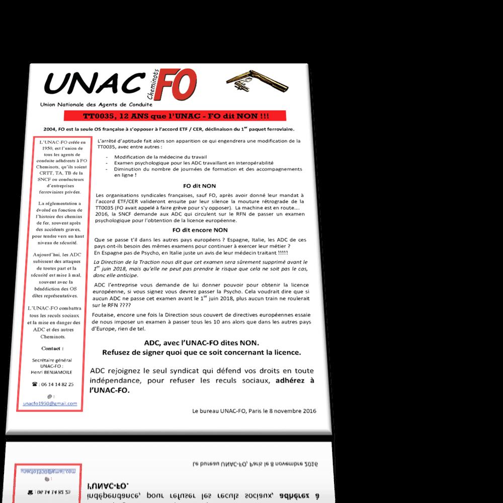 TT0035, 12 ans que l'UNAC – FO dit NON !!!