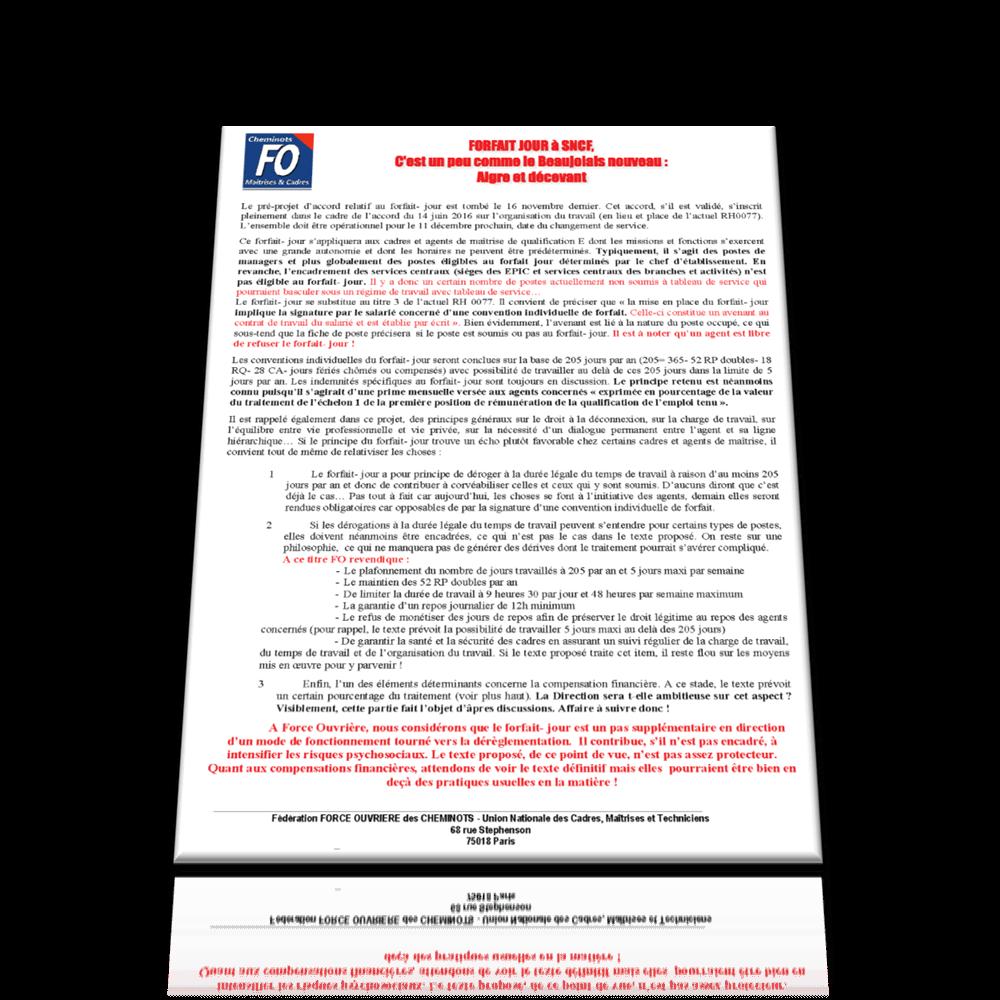 UNCMT-FO Novembre 2016: FORFAIT JOUR à SNCF, un pas de plus vers la déréglementation