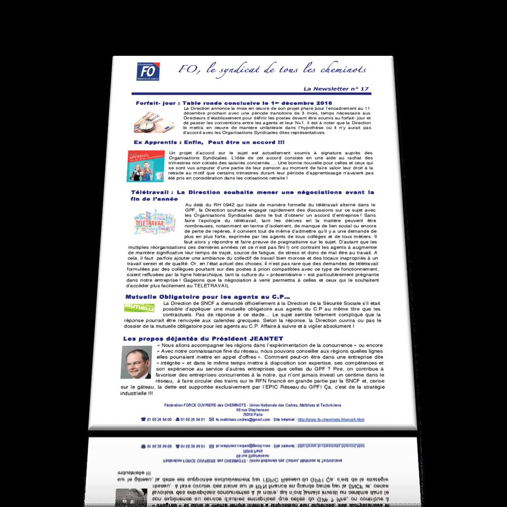 La Newsletter n°17 des maitrises et cadres FO de décembre 2016