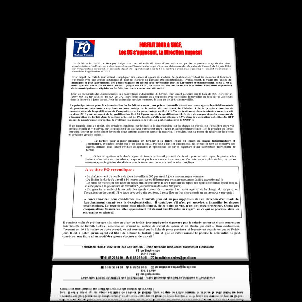 Forfait jours à la SNCF: tracts et analyse de l'UNCMT-FO