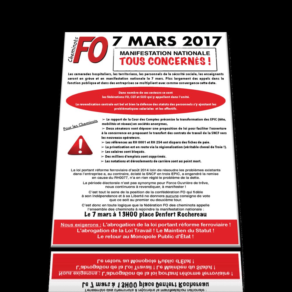 7 MARS 2017 MANIFESTATION NATIONALE TOUS CONCERNÉS !