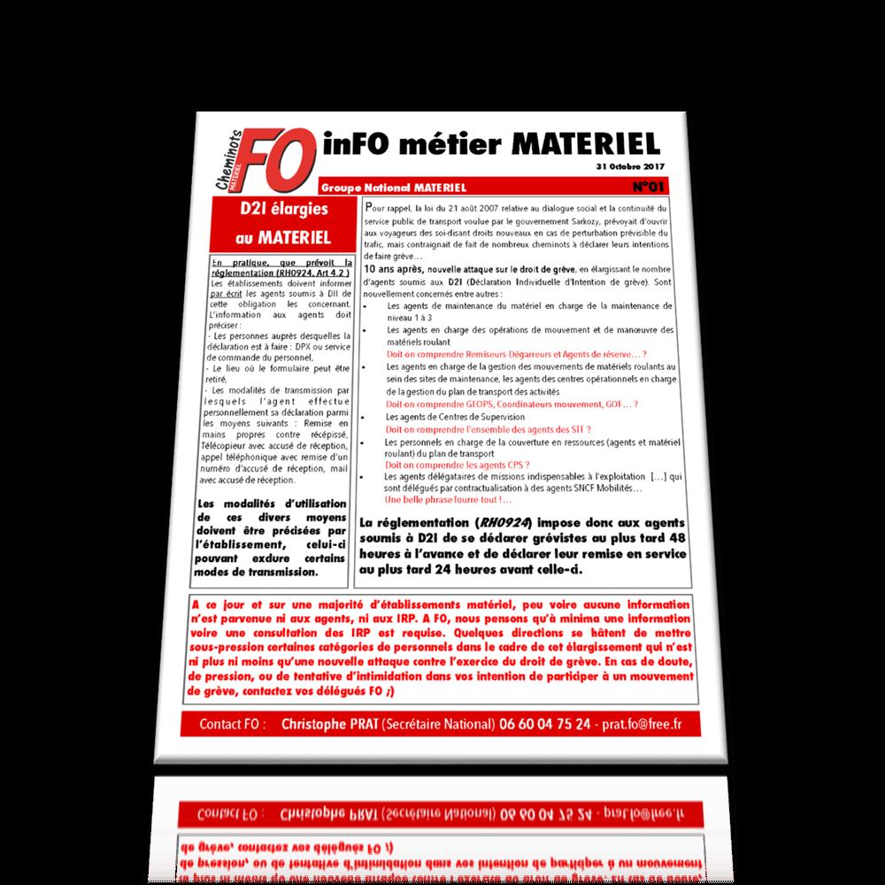 inFO métier MATÉRIEL – Groupe National Matériel n°01