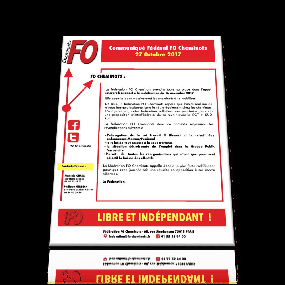 Communiqué Fédéral du 27 Octobre 2017