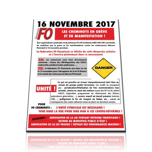 16 novembre 2017-Grève et Manifestation !