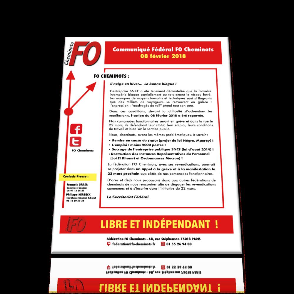 Communiqué FO Cheminots du 8 février 2018