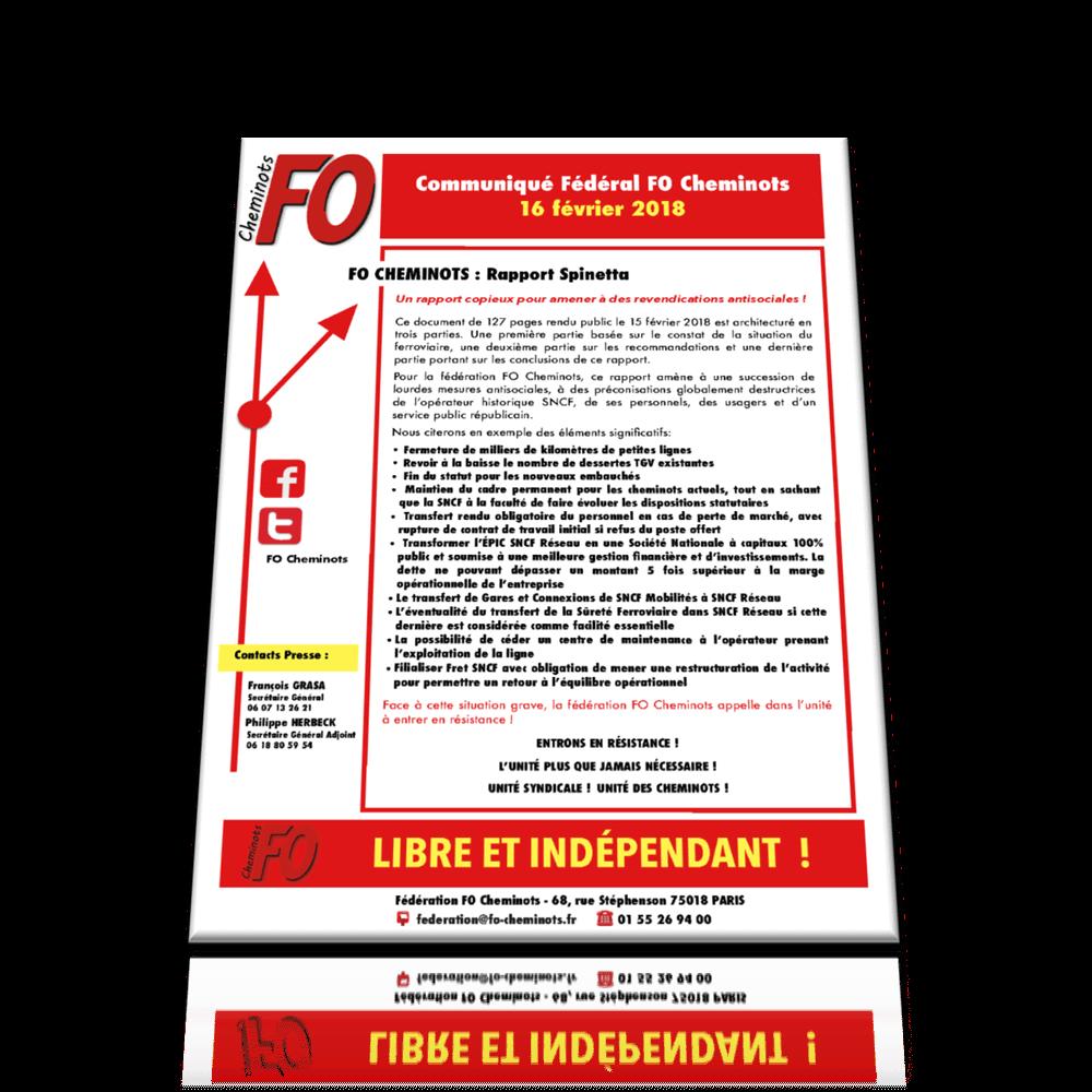 Communiqué FO Cheminots du 16 février 2018