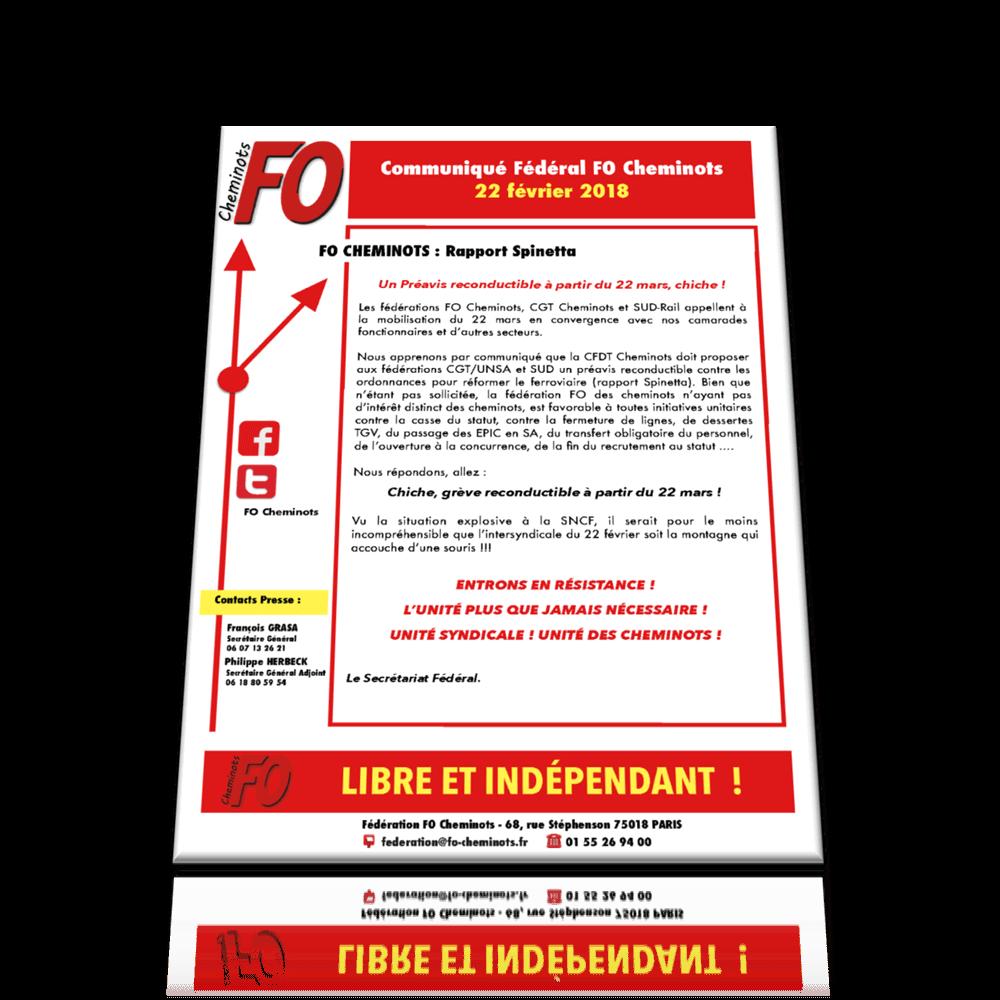 Communiqué FO Cheminots du 22 février 2018