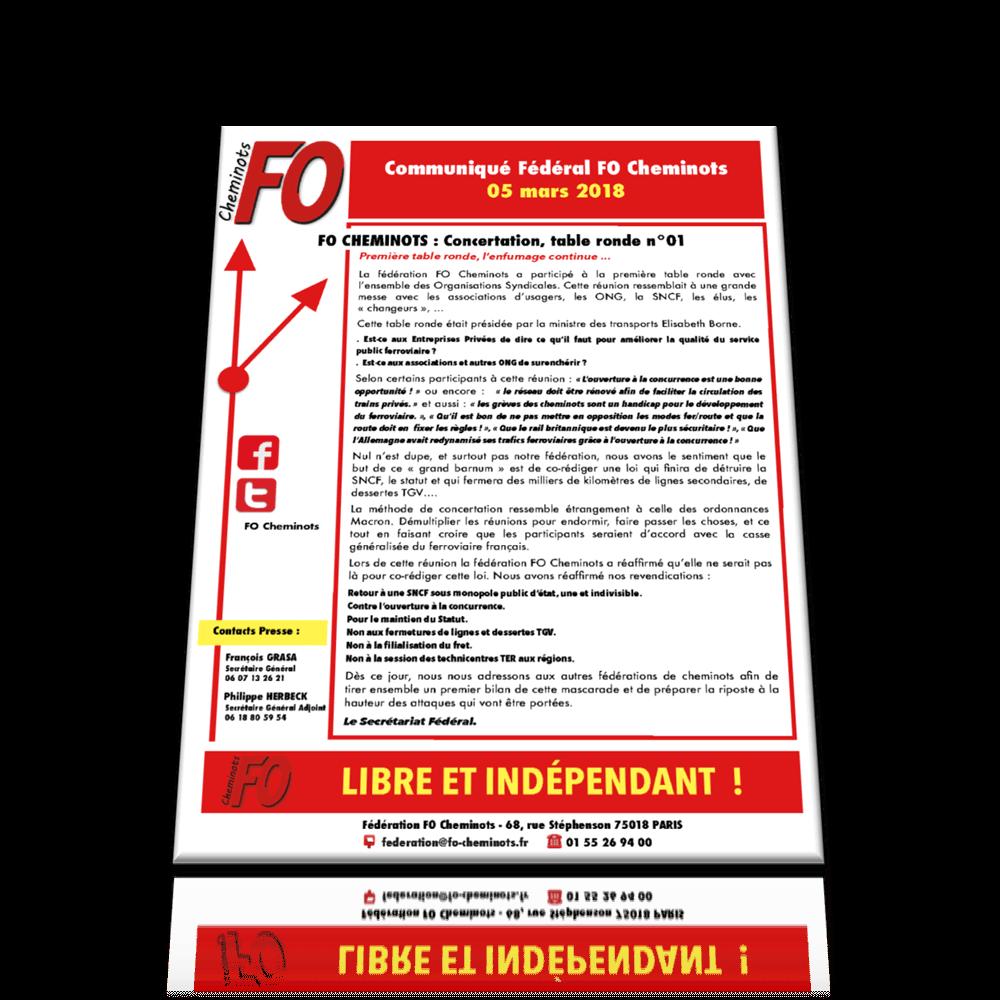 Communiqué FO Cheminots du 5 mars 2018