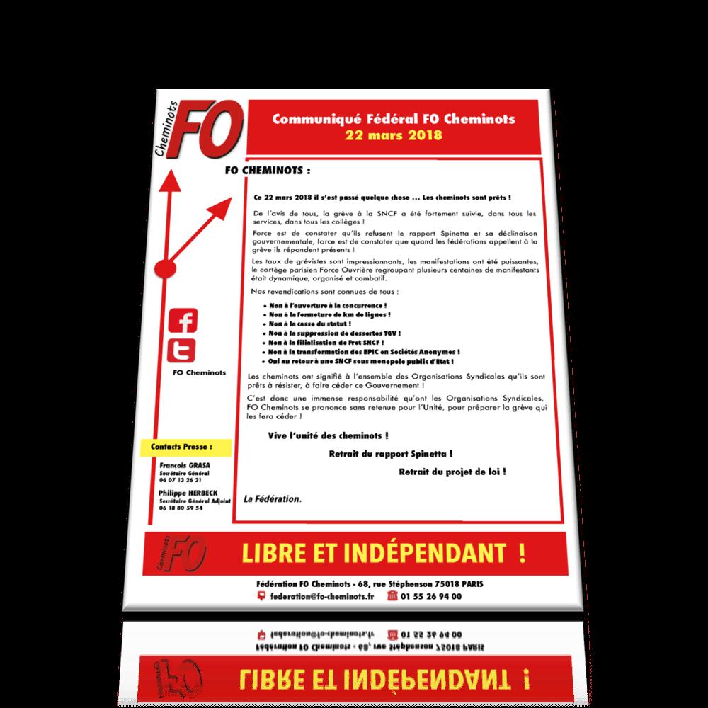 Communiqué FO Cheminots 22 mars 2018