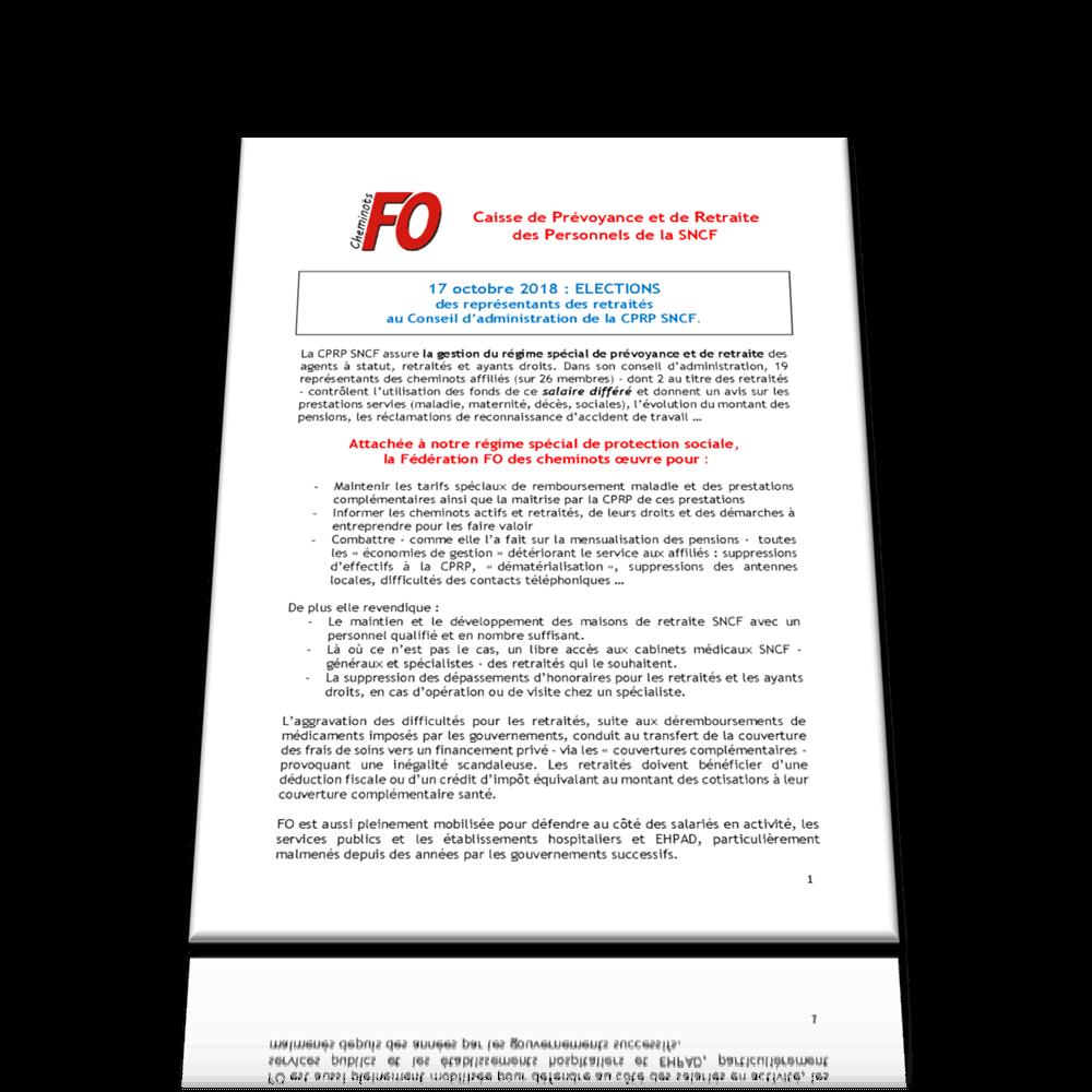 Tract élections représentants retraités à la CA de la CPRP