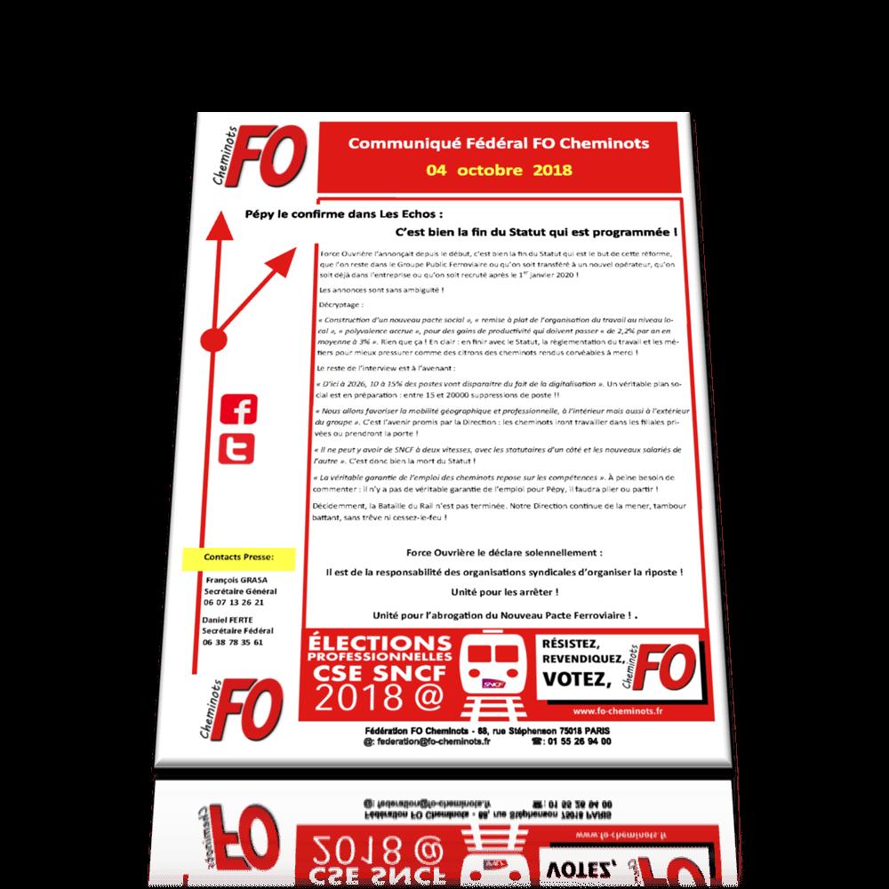 2018.10.04 – Communiqué FO Cheminots
