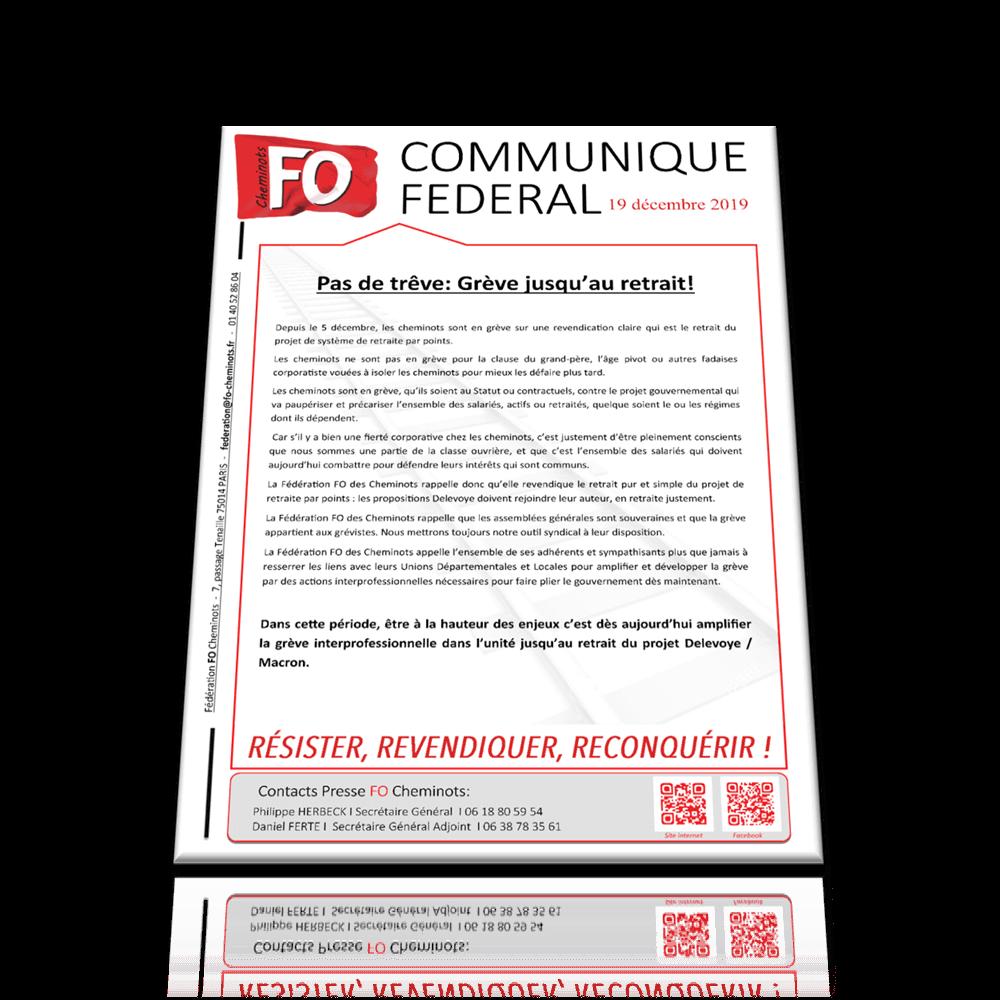 Pas de Trêve : Grève jusqu'au retrait ! – Communiqué FO du 19 décembre 2019