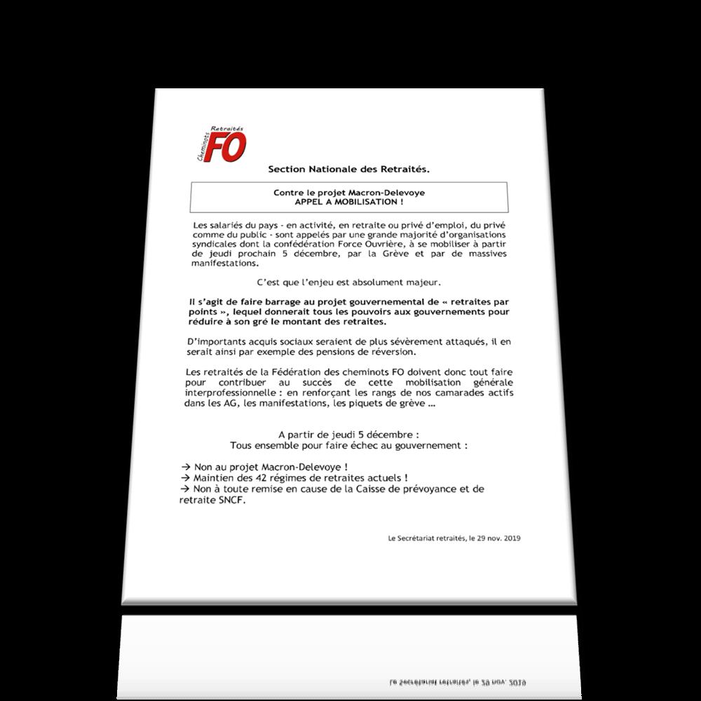 Section Nationale des Retraités- – Contre le projet Macron-Delevoye APPEL A MOBILISATION !