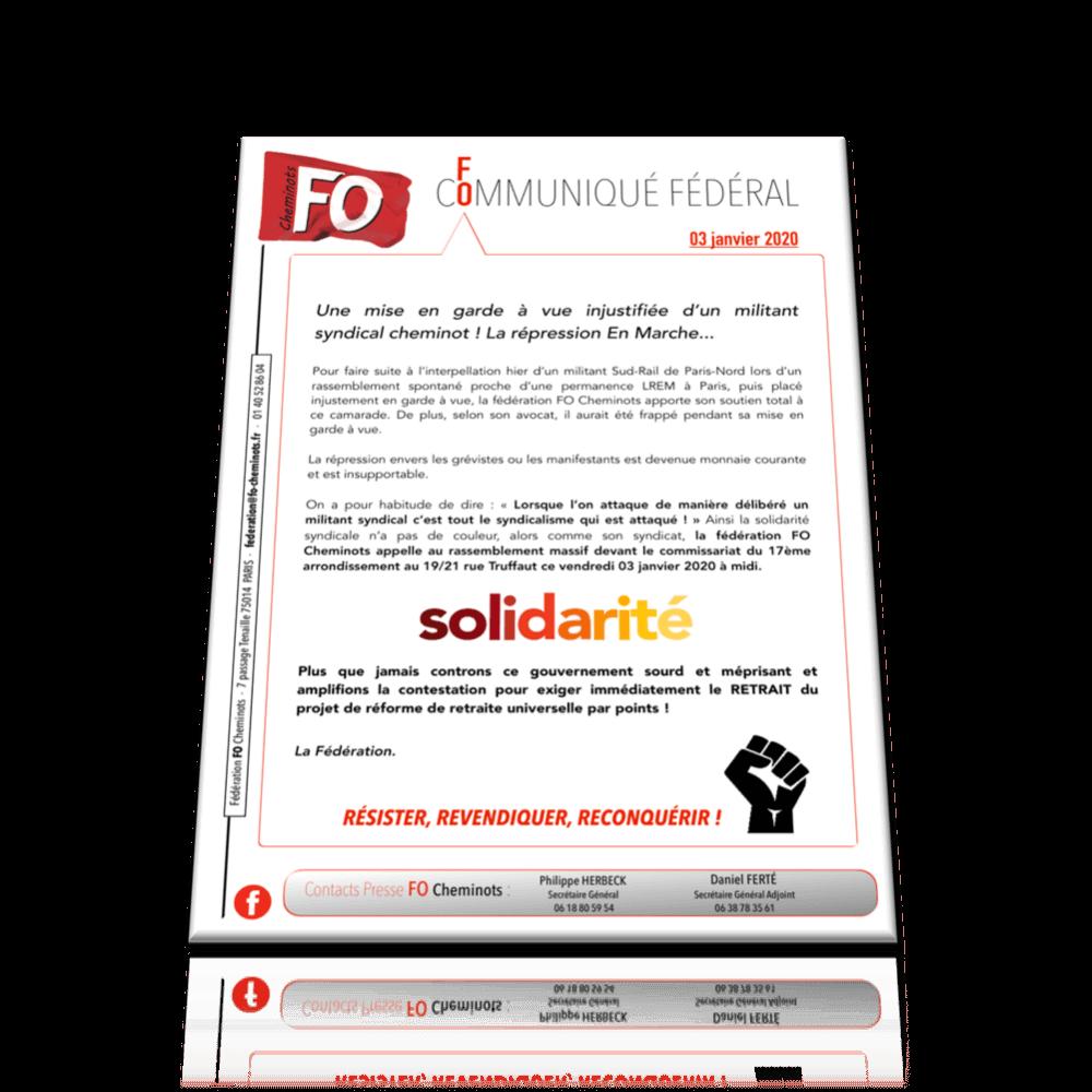 Communiqué fédéral FO Cheminots du 3 janvier 2020 – Répression en Marche ….