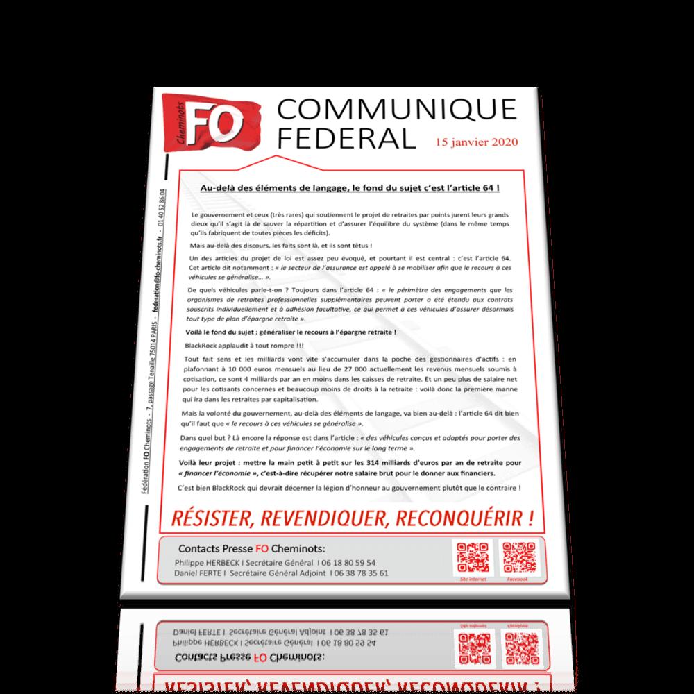 Communiqué FO cheminots du 15 janvier 2020 – Au-delà des éléments de langage, le fond du sujet, c'est l'article 64 !