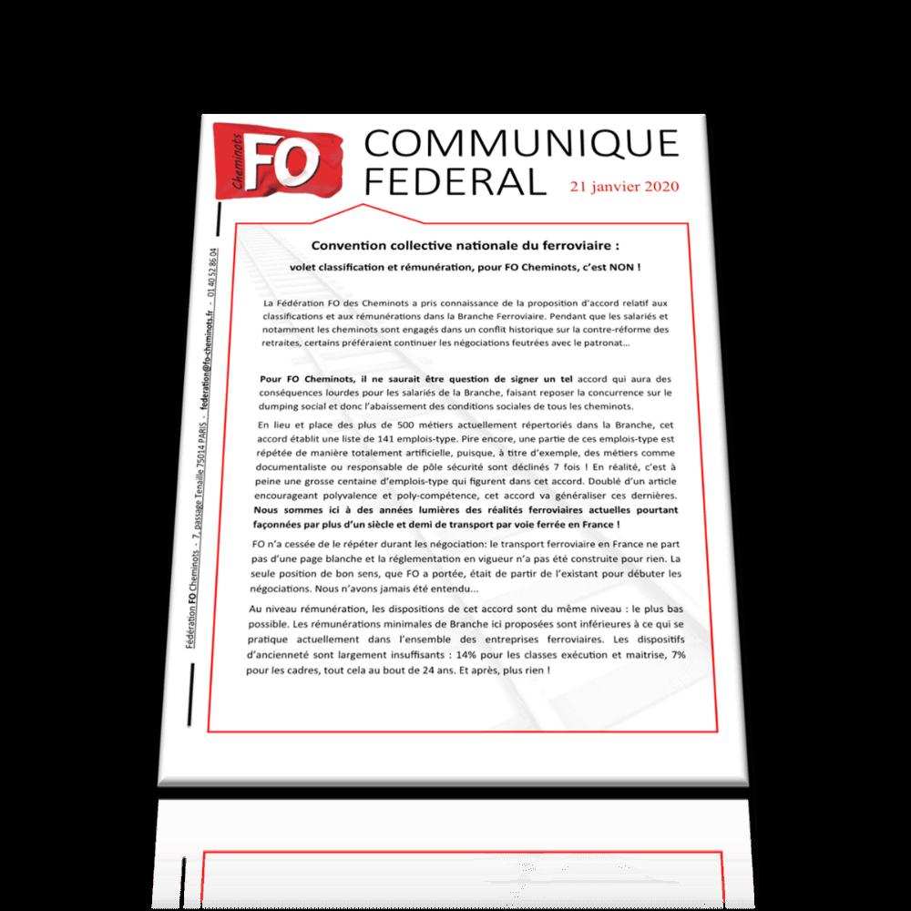 CCN – Volet classification et rémunération, pour FO, c'est NON ! Communiqué FO du 21 janvier 2020