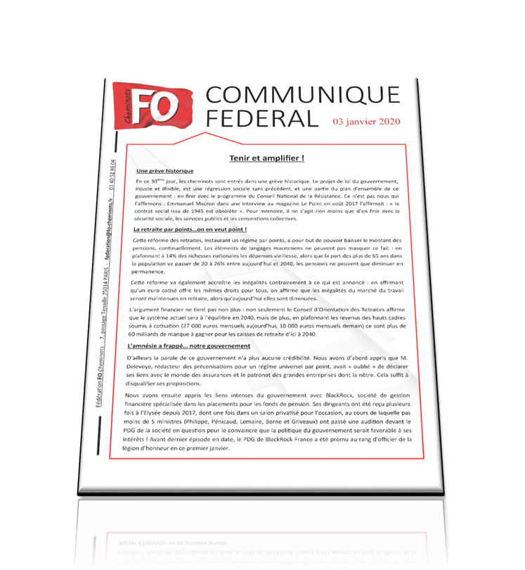 Tenir et amplifier! – Communiqué fédéral du 3 janvier 2020