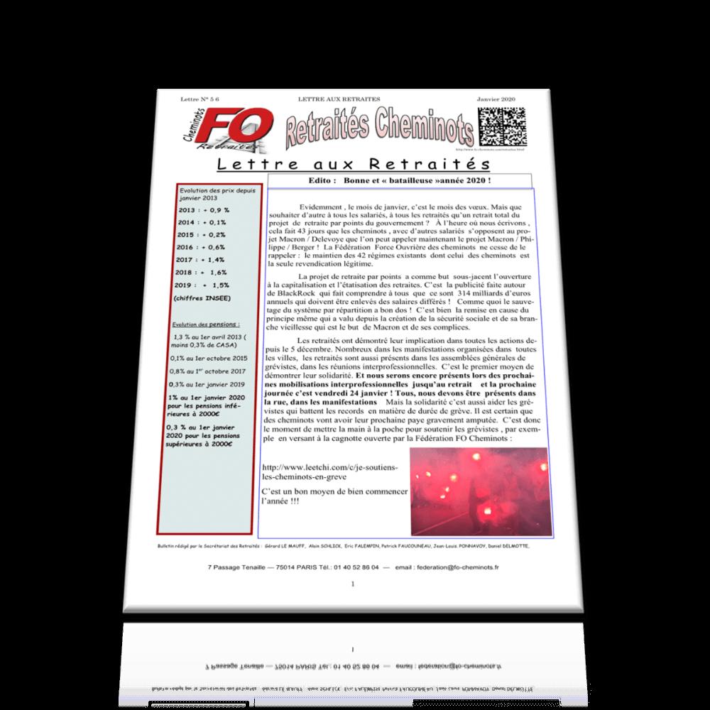Lettre aux Retraités n°56 Janvier 2020