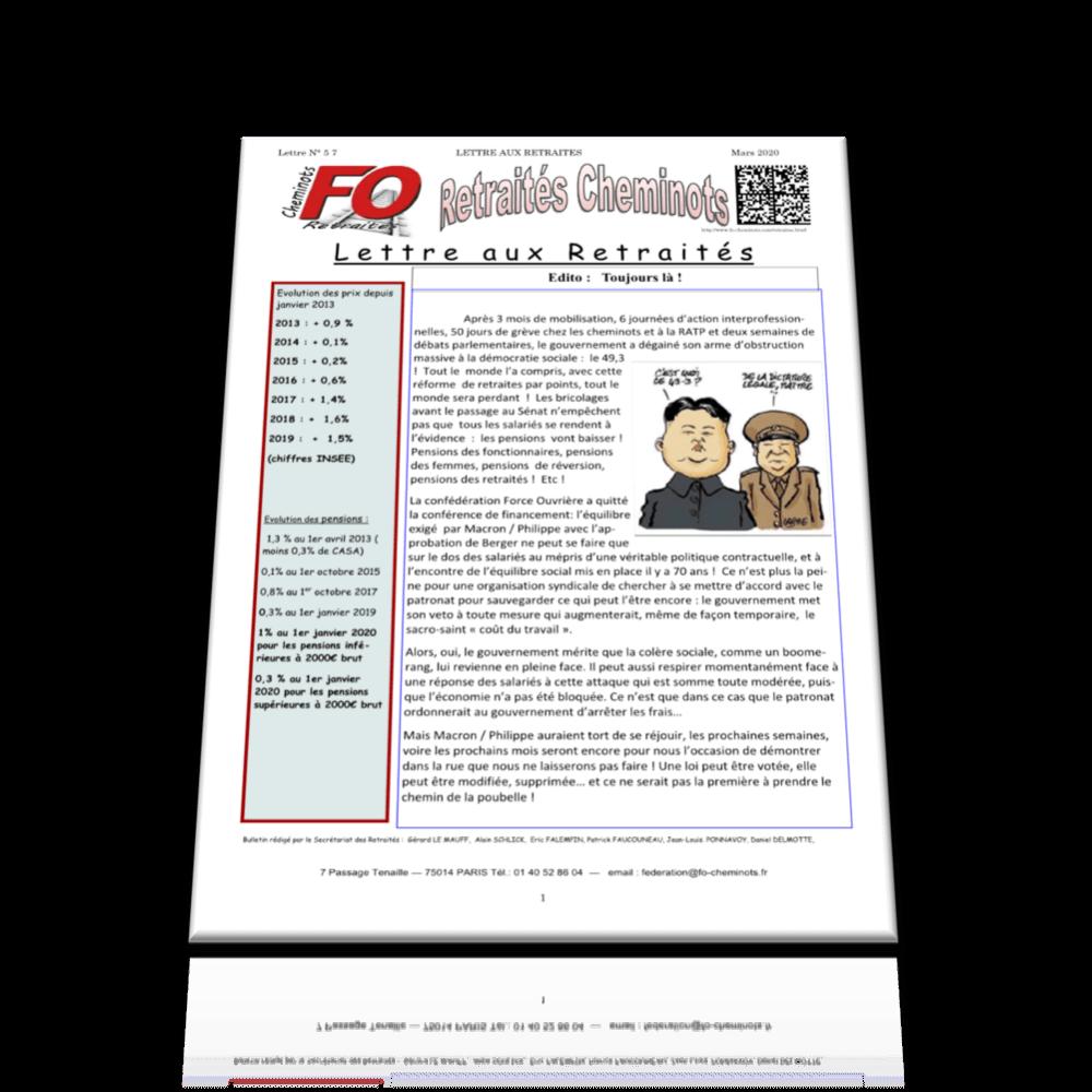 Lettre aux Retraités n°57 – mars 2020