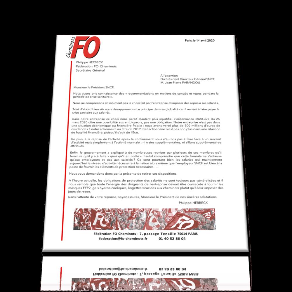 Courrier au PDG SNCF – Recommandations Congés et Repos