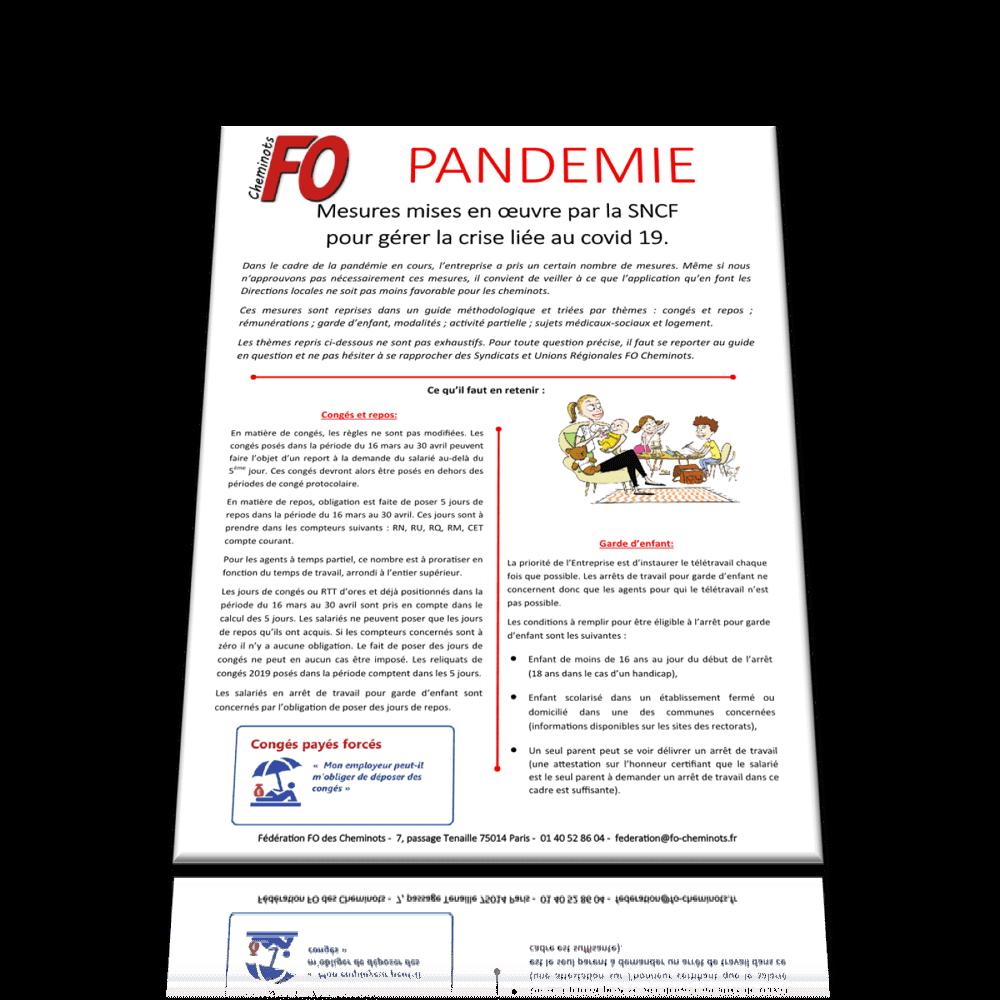 Pandémie: Mesures mises en œuvre par la SNCF pour gérer la crise liée au covid 19.