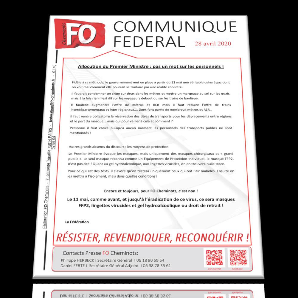 Communiqué Fédéral du 28 avril 2020 : Allocution du Premier Ministre: pas un mot sur les personnels!
