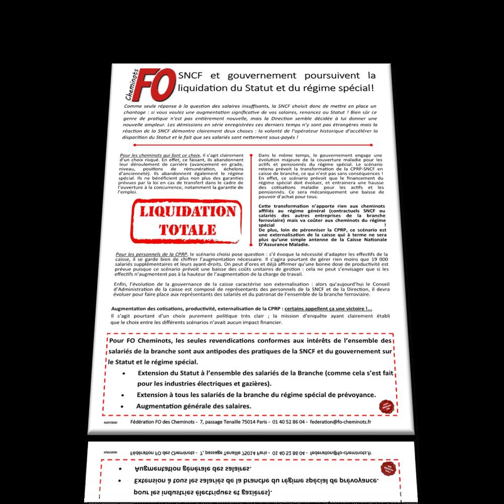 SNCF et gouvernement poursuivent la liquidation du Statut et du régime spécial!