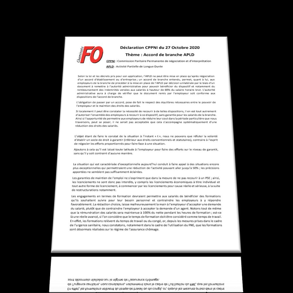 Déclaration CPPNI du 27 Octobre 2020