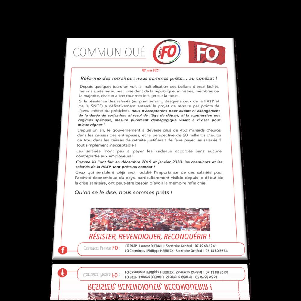 Communiqué Commun FO RATP / FO CHEMINOTS – Réforme des retraites: nous sommes prêts… au combat!