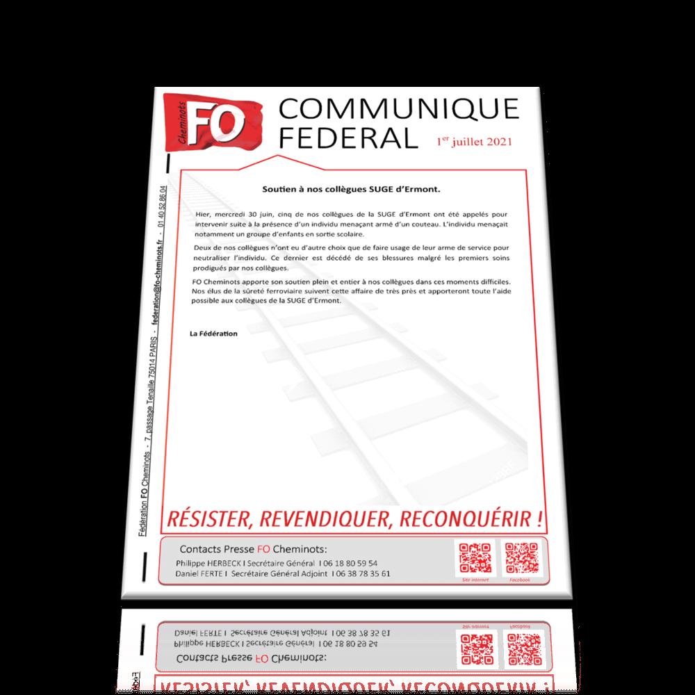 Communiqué Fédéral – Soutien à nos collègues SUGE d'Ermont